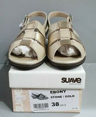 Suave Naturally Comfortable Ladies Sandals Stone/Gold Sizes 5, 6  BNIB (E Ebony)