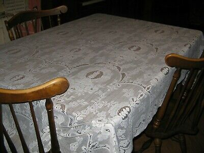 Vintage Lace Tablecloth White Lace Flowers Rectangle 52 by 88