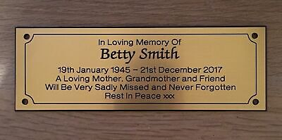 Brass Effect Engraved Personalised Memorial Bench Plaque