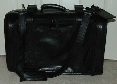 Very Rare  Vtg  Tumi  Black Leather Carry On Colombian Leather W/Shoulder Strap