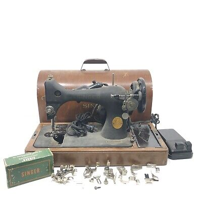 Vintage 1950s Singer Sewing Machine BZ9-8 W/ Original Cover And Attachments