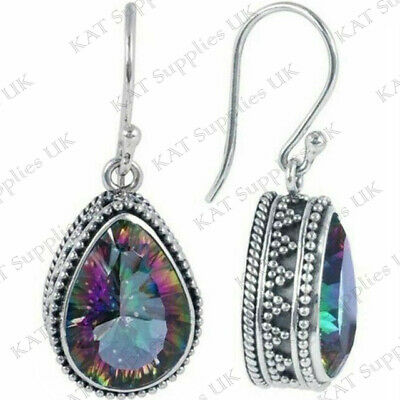 Womens Hook Earrings Topaz Rainbow Oval 925 Sterling Silver Plated Drop Dangle