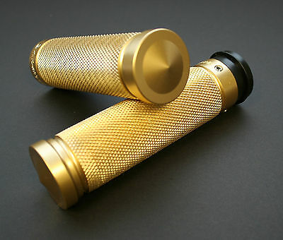 """Accutronix BRASS """"Knurled"""" handle bar grips **BLEMISHED**"""