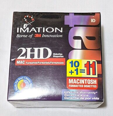 """Imation 3M Macintosh Mac Formatted 10 Disks Diskettes 3.5/"""" 1.40 MB New Sealed"""