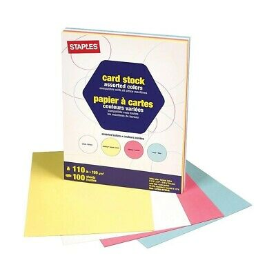 "Staples Pastel Assorted Colored Card Stock, 8-1/2"" x 11"", 110 lb, 100 Sheets"