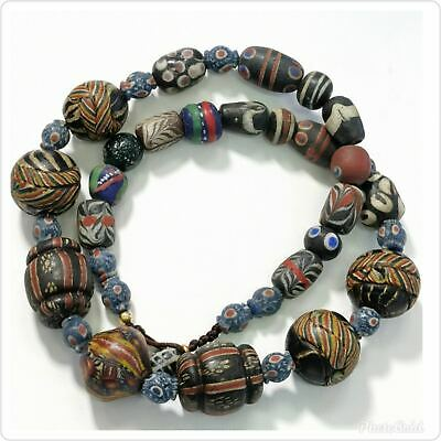 Antique Islamic mosaic Glass Lovely Beads Unique Necklace  # 118