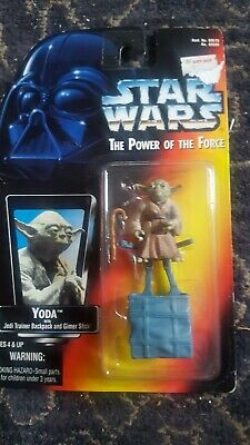 Star Wars Power of the Force Yoda with Jedi trainer backpack MINT on card