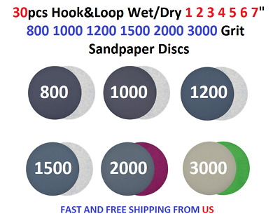 "30pcs Hook&Loop Wet/Dry 1 2 3 4 5 6 7"" 800 1000 1200 1500 2000 3000 Sanding Disc"