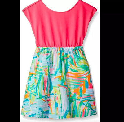 Lilly Pulitzer NWT Girls Caila Dress in Serene Blue Tippy Top $68