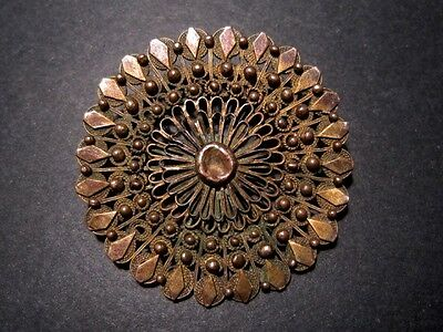MAGNIFICENT OLD ANTIQUE 19th. -20th. CENTURY OVAL FILIGREE BROOCH!!!