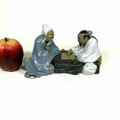 Vintage Chinese Mudman Glazed Pottery Figure of Friends Playing Game of Checker