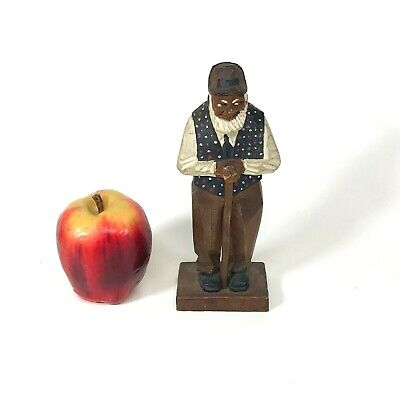 Vintage Folk Art Wood Carving of a Old Man With Cane