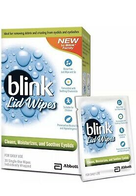 Blink Single Use Lid Wipes 30 ea (Pack of 4) Total Of 120 Wipes! Fast Shipping!