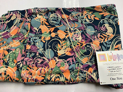 LulaRoe Women's OS Leggings Fall Color pastel flower shapes mix multi print NEW