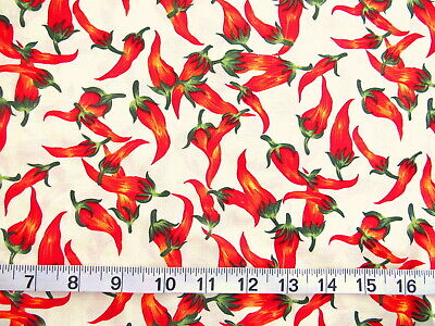 Robert Kaufman Fabric Chili Spicy Peppers Red Green Yellow Black //Yd