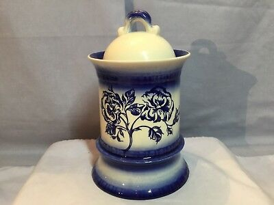 Vintage CARLTON WARE England Covered CANISTER or JAR Cobalt Blue on White