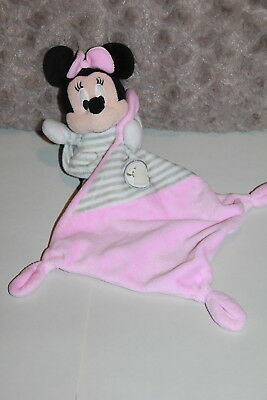 Doudou Disney Nicotoy  Minnie Mouchoir Rose Cube Abc Raye Gris