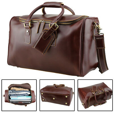 Real Leather Outdoor Luggage Suitcases For Men Travel Duffle Gym Messenger Bags