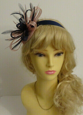 Blush pink /navy blue fascinator headband for wedding/mother of the bride/races