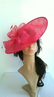 Hot pink Sinamay Hatinator..shaped saucer disc Wedding.races.ascot.new.