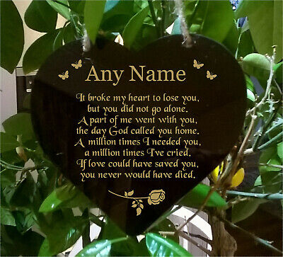 Heart Engraved Memorial Plaque Rememberance Any Name Marker Style 6