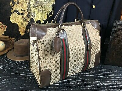 "GUCCI Italy 19"" Vintage  Duffle Overnight Travel Duffle Doctor Suitcase Bag"