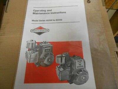 Briggs & Stratton Operating & Maintenance Instructions Model 80200 to 82200
