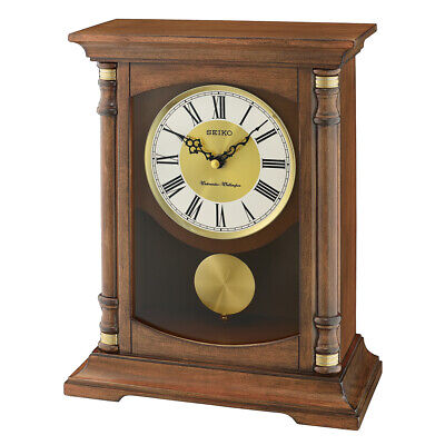 Seiko Wooden Melody Mantel Clock with Pendulum Analogue Retro Style