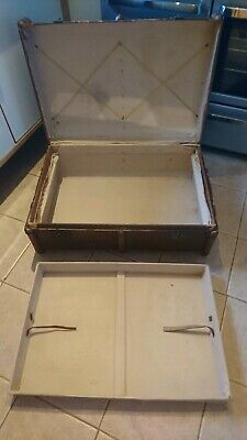 Large Vintage Wood Banded Steamer Trunk Case - Coffee Table, Antique Suitcase