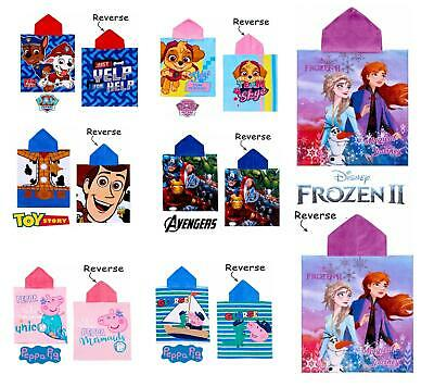 Kids Official Licensed Character Poncho Hooded Towel Girls Boys