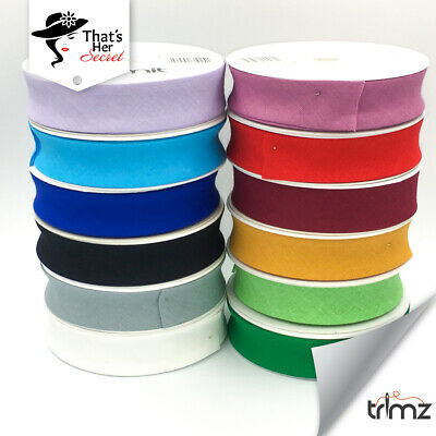 """Trimz Best Quality Bias Binding Tape 25mm (1"""") wide 5 meters 100% cotton"""