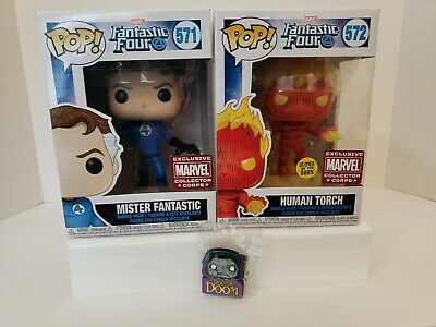 Lot of 3 Funko POP Fantastic 4 Marvel Mr.Fantastic / Torch/ Dr.Doom Protecto New