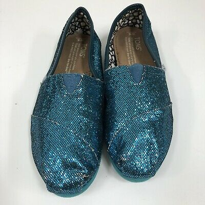 TOMS Shoes Loafer Slip-On Blue Sparkle Shimmer Glitter Size 5 Big Girls