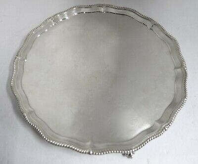 """LARGE ROUND FOOTED ENGLISH STERLING SILVER TRAY / SALVER. 16.50"""" Diameter"""