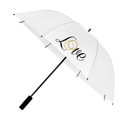 Large White Wedding Umbrella for Bride & Groom with Love Design in Black & Gold