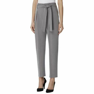 TAHARI ASL NEW Women's Gray/ivory Striped Tie-waist Paperbag Pants 16 TEDO