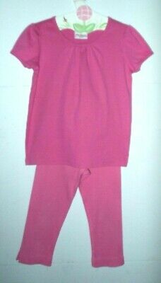 Hanna Andersson 130 8y set,pink ribbed stretch capri pants,SS top,100%cotton