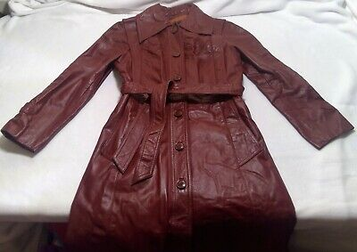 Genuine leather womens red trench coat 7/8 button collar pocket sash lined