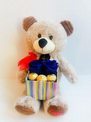 Teddy Bear & Eternal Forever Royal Blue Real Roses Chocolates Valentine's Gift