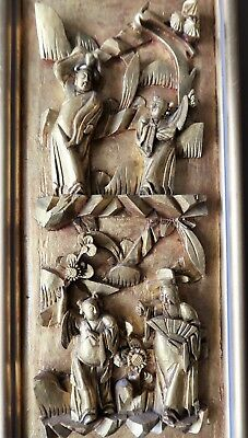 19 X 42cm Oblong Vintage Chinese Framed Hand Carved Wooden Panel