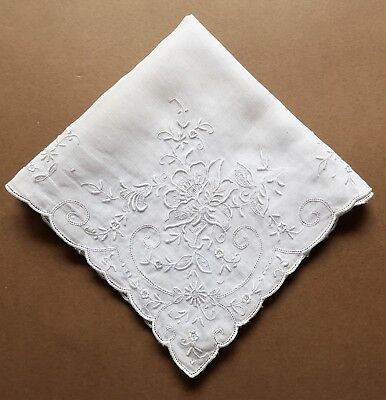 Vintage Extensively Hand Embroidered White Cotton Women's Handkerchief