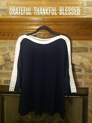 Chaps by Ralph Lauren Sz. 2X Navy and White 3/4 Sleeve Striped Top NWT