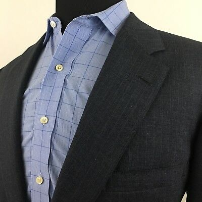 Brooks Brothers Makers Navy Blue Pinstripe Suit Jacket 2-Button 45L Wool 039