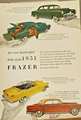 FRAZER 1951 CAR ADS - Four in All - Excellent Conditions