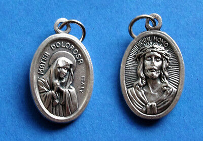 "Mater Dolorosa - Sorrowful Mother / Ecce Homo  Oxidized Medal (7/8"" x5/8"")"
