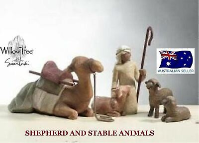 SHEPHERD AND STABLE ANIMALS NATIVITY Demdaco Willow Tree By Susan Lordi NEW
