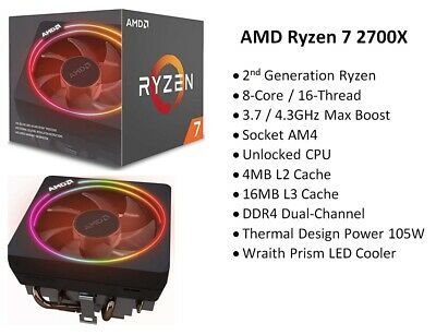 AMD Ryzen 7 2700X 8-Core/16-Thread 3.7GHz CPU with Wraith Prism LED Cooler