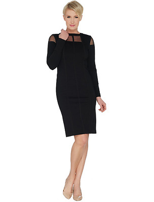 Lisa Rinna Collection Ponte Dress with Sheer Neck Detail Color Black Size R12