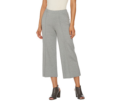 H By Halston Regular Ponte Knit Wide Leg Pants Size 6 Granite Color