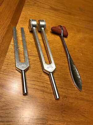Medical Tuning forks 512C and 128C, and Reflex Hammer